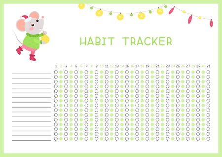 Habit tracker for month flat vector template. Children planner page with cute mouse layout. Winter holidays, December daily achievements planning. Kids assignments blank timetable design