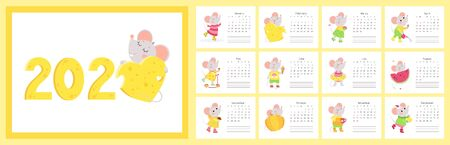 2020 calendar with mice flat vector templates set. Cute little rats cartoon characters.