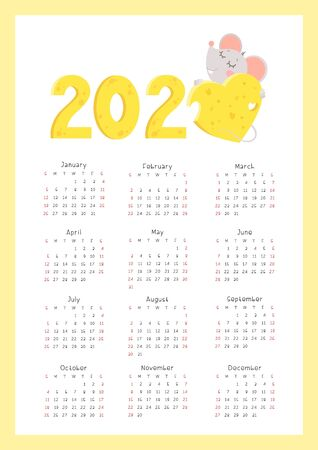 2020 flat vector calendar vertical pages. Little mouse hugging cheese heart and numbers cartoon illustration. Chinese calendar zodiac sign.