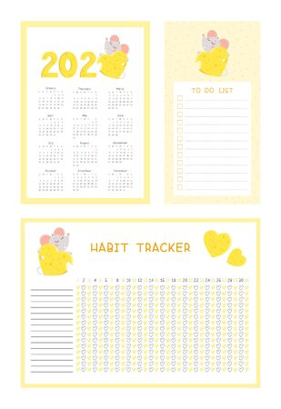 2020 calendar, habit tracker and to do list with cute mouse flat vector templates set. Ilustração