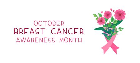 Breast cancer awareness month flat banner vector template. International october event. Feminine illness solidarity poster layout. Pink flowers bouquet with ribbon illustration with typography