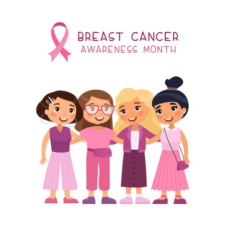 October breast cancer awareness month banner template. Female oncology, women solidarity and support poster layout. Group girls hugging flat vector illustration with typography