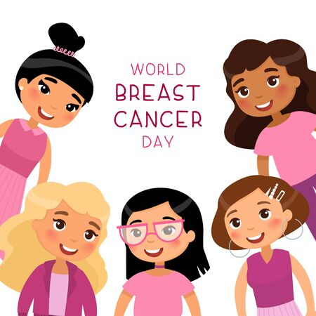 World breast cancer day social media banner template. Smiling young girls cartoon characters. Female oncology awareness campaign poster. Multiethnic women group flat illustration with typography  イラスト・ベクター素材