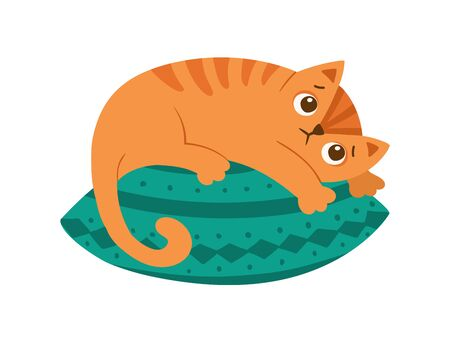 Sad ginger cat lying on pillow flat vector illustration. Cute domestic animal, depressed kitten isolated on white background.