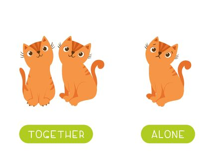 Flashcard with antonyms for children vector template. Opposites concept, together and alone. Word card for foreign language studying. Two cats and lonely kitten flat illustration with typography