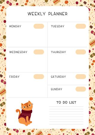 Blank weekly planner vector template. Empty autumn themed personal organizer. Timetable with decorative frame. Cute cat  wearing handmade sweater flat illustration with text space