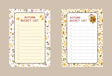 Autumn bucket lists flat vector templates set. Weekly and daily planner pages designs pack. Diary, notepad checklist layout  イラスト・ベクター素材