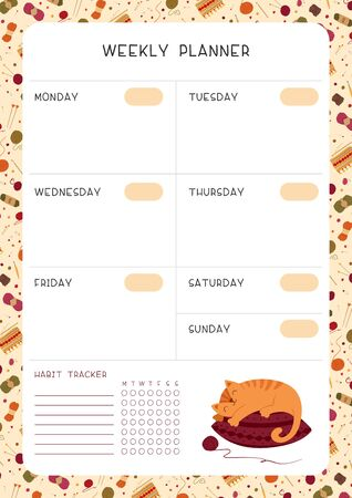 Blank weekly planner for children vector template. Empty autumn themed personal organizer. Timetable with childish decorative frame. Cute cat sleeping on pillow flat illustration with text space