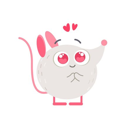 Cute little mouse in love flat vector illustration. Adorable 2020 new year mascot with big eyes. Small charmed, fascinated animal isolated on white background. Romantic rat kawaii cartoon sticker