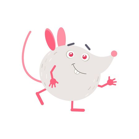 Little mouse waving hand flat vector illustration. Cute 2020 new year mascot. Adorable smiling animal isolated on white background. Friendly rat cartoon character. Creative funny sticker 写真素材