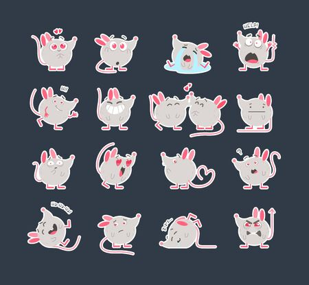 Cute mice stickers flat vector illustrations set. Creative social media emoji pack. Various cartoon emoticons collection. Kawaii rats with different expressions. Funny 2020 year mascots 写真素材