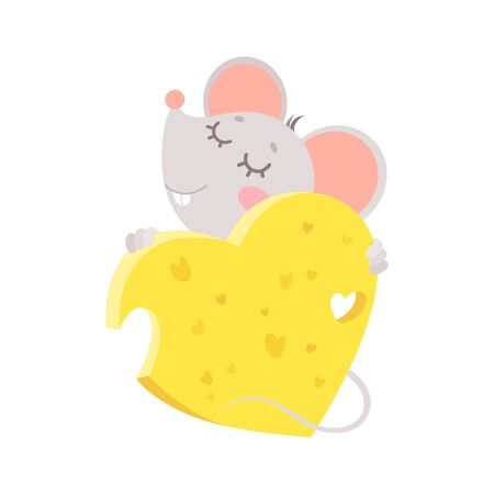 New Year 2020 flat vector greeting card with mouse template. Little rat hugging cheese heart illustration. Chinese calendar zodiac sign. Rodent poster, square postcard design   イラスト・ベクター素材