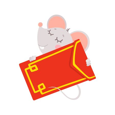 New Year 2020 flat vector greeting card with mouse template. Little rat hugging big red envelope. Chinese calendar zodiac sign illustration. Rodent poster, square postcard design  イラスト・ベクター素材