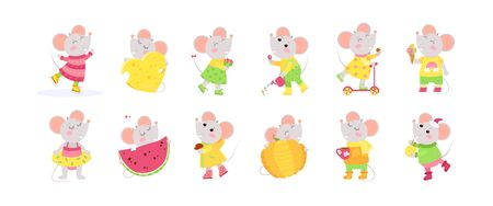 12 cute little mice cartoon characters.  Chinese zodiac sign.  New Year 2020. Big set of flat vector illustrations.