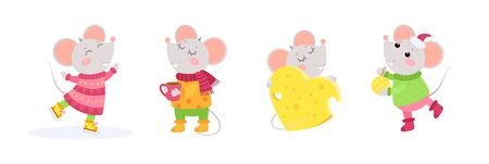 New Year 2020 flat vector characters set. Little mice winter characters. Chinese calendar zodiac sign.  Иллюстрация