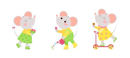 Little mouse holding flowers bouquet, rides a scooter, watering a flower. Spring holiday postcard, greeting card design. Flat vector characters illustration set. Иллюстрация