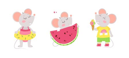 Little mice summer characters. Summer holiday postcard, greeting card design. Flat vector characters illustration set.