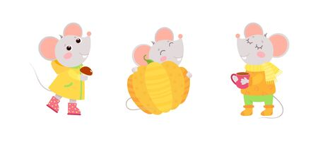 Little mice autumn characters. Autumn holiday postcard, greeting card design. Flat vector characters illustration set.