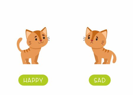 Educational word card with animals vector template. Flash card for english language learning with cute kitten. Opposites concept, happy and sad. Adorable little cat flat illustration with typography  イラスト・ベクター素材