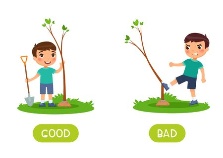 Kids flash card with opposites vector template. Word card for englishlearning with little boy. Antonyms concept; good and bad. Child planting and breaking tree flat illustration with typography