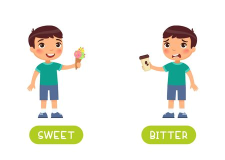 Educational word card with opposites vector template. Foreign language flash card with cute boy. Taste concept, bitter and sweet. Child with ice cream and coffee flat illustration with typography