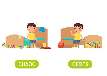 Childish word card for English learning vector template. Flashcard with antonyms. Opposites concept, chaos and order. Little boy in tidy and messy bedroom flat illustration with typography