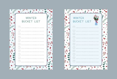 Winter bucket lists flat vector templates set. Weekly and daily 