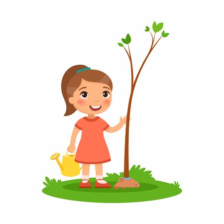 Cute little girl planting tree flat vector illustration. Happy kid gardening cartoon character.  Child cultivating young green plant isolated on white background. Nature protection concept