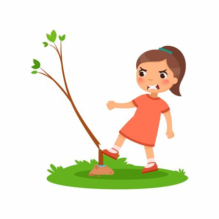 Aggressive girl breaking young tree flat vector illustration. Furious little kid damaging plant cartoon character. Angry child destroying nature isolated on white background. Ecology protection concep