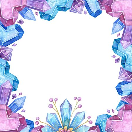 Blank crystalline color frame hand drawn illustration. Jewelry border watercolor drawing. Ice crystals, gemstones. Empty winter frame with glacial shapes isolated on white background Stock fotó