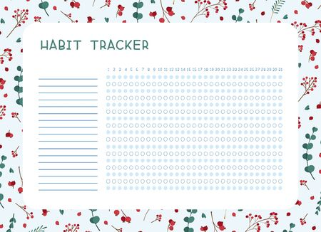Habit tracker for month flat vector template.  Winter leaves themed blank, personal organizer with decorative frame. Traditional Christmas symbolic tree leaves, berries, bouquet  illustration with text space Reklamní fotografie