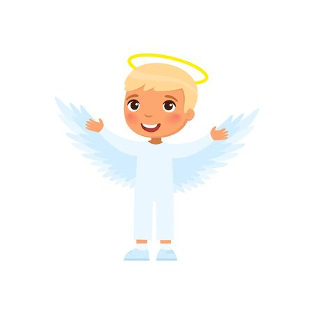 Little boy dressed like angel flat vector illustration. Child wearing cherub costume cartoon character. Kid clothed as heavenly creature. Halloween party, masquerade outfit. Autumn holiday