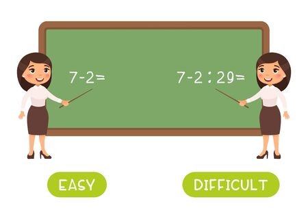 Educational word card with math sums vector template. Flash card for English studying. Antonyms concept, easy and difficult. Mathematics teacher near chalkboard flat illustration with typography