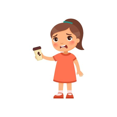 Little girl with takeaway coffee flat vector illustration. Cute kid with hot beverage cartoon character. Unhappy child holding paper cup with bitter energy drink isolated on white background Vetores