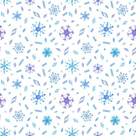 Icy crystals and snowflakes hand drawn seamless pattern. Ice flakes and gems color drawing. Winter attributes texture. Creative wallpaper, wrapping paper, fabric, textile design