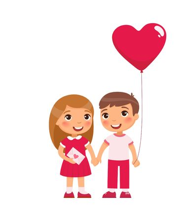 Little boyfriend and girlfriend celebrating Valentines Day flat vector illustrations. Young love. February 14 date isolated design element. Cute boy and girl holding hands characters on white Ilustração