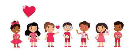 Multicultural little boys and girls dating, celebrating Valentines Day flat vector illustration. Young girlfriends and boyfriends isolated cartoon characters set. Children with February 14 presents