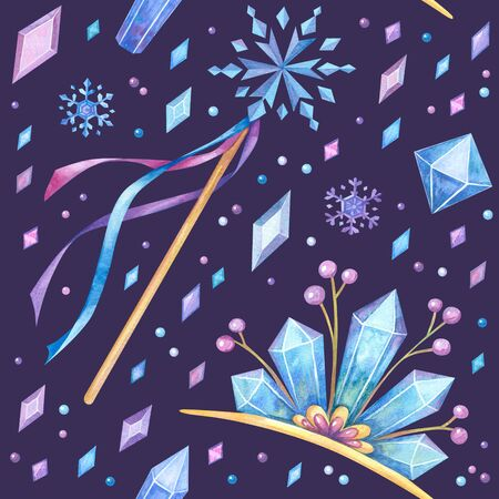 Tiaras, sticks and crystals hand drawn seamless pattern. Crystalline diadems, snowflakes and jewels color drawing. Fairy queen accessories texture. Wallpaper, wrapping paper design Banque d'images - 135494541