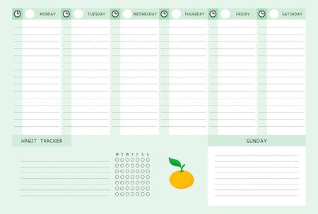 Calendrier de la semaine et suivi des habitudes avec modèle vectoriel plat mandarine. Conception de calendrier avec illustration de dessin animé d'agrumes. Page blanche d'organisateur de tâches personnelles pour le planificateur
