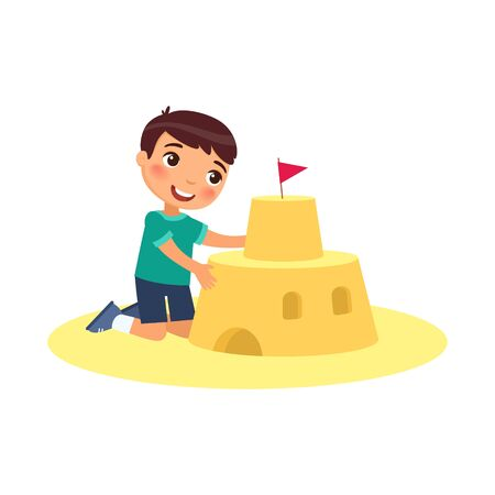 Cute child building sand castle flat vector illustration. Funny kid playing on beach cartoon character. Boy constructing sandy fortress isolated on white background. Summer recreation activity Banco de Imagens