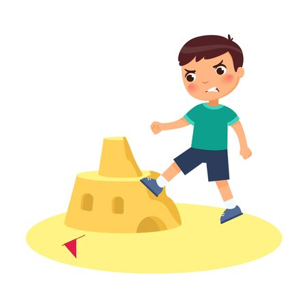 Angry boy destroying sandcastle flat vector illustration. Little kid breaking beach fortress cartoon character. Cruel child ruining sand tower isolated on white background. Violence concept
