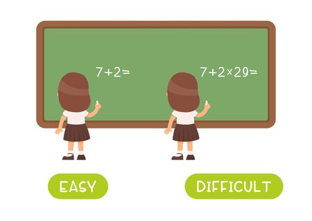 Word card with little schoolgirl vector template. Flash card for foreign language with pupil in class. Opposites concept, easy and difficult. Kid doing math sums flat illustration with typography