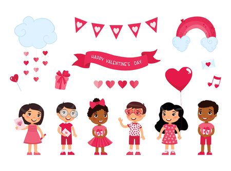 Boys and girls celebrating Valentines Day flat vector illustrations set. February 14 accessories, festive romantic decorations isolated pack. Kids holding holiday presents, envelopes