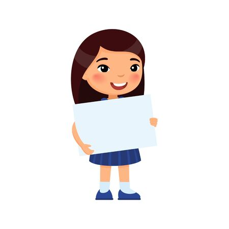 Little smiling girl holding empty banner flat vector illustration. Cute school girl with blank paper sheet in hands isolated on white background. Happy young asian child with poster mock up