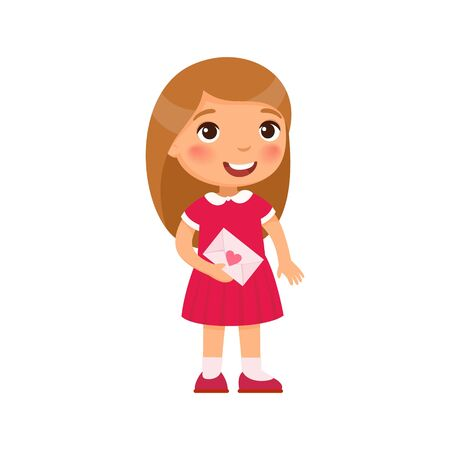 Little girl holding love letter flat vector illustration. Valentines Day celebration. Smiling child character with greeting card. February 14 holiday isolated design element. Kid with envelope