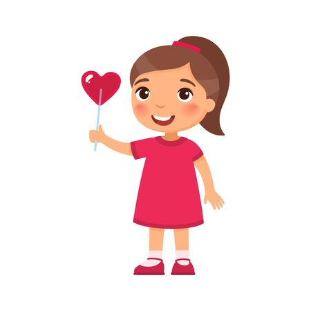 Little girl holding heart shaped candy flat vector illustration. Valentines Day celebration. Smiling child character with lollipop on stick. February 14 holiday isolated design element