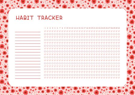 Habit tracker for month flat vector template. Planner page with red flowers and hearts layout. Assignments blank timetable design