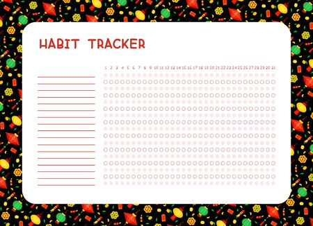 Habit tracker for month flat vector template. Planner page  with chinese   lanterns and fireworks  layout. Daily achievements planning. Assignments blank timetable design