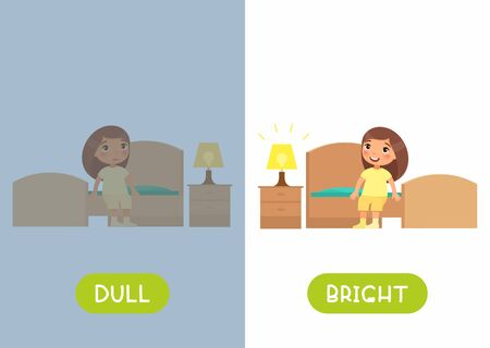 Educational english word card with antonyms vector template. Childish cards for language learning concept. Opposites, dull and bright words. Cute girl sitting on bed flat illustration with typography Vector Illustration
