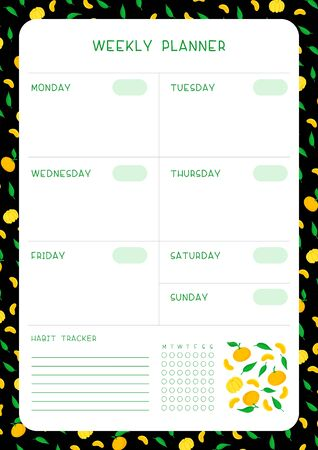 Week timetable and habit tracker with mandarins and leaves flat vector template.  Personal tasks organizer blank page for planner with fruit frame on black background.
